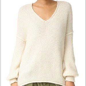 free people🦙cozy oversized knit cream sweater